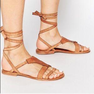 Free People Tan Flat Wrap Gladiator Sandal 6